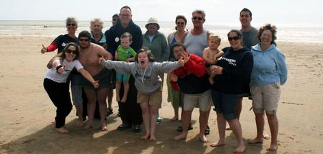 News: Big Swim Camber Sands - Russell and the Magpie Dance group before taking the plunge.