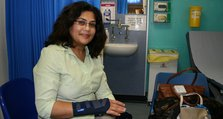 (1) Farzana Bhunnoo pictured receiving treatment recently in the Urgent Care Centre at Queen Mary's Hospital.
