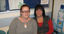 (2) Kayleigh Sharp, pictured with her mother Dawn Sharp recently in the Urgent Care Centre at Queen Mary's Hospital.