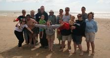 (2) Russell was joined by several Magpie dancers and supporters for the August swim at Camber Sands
