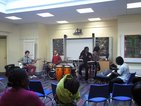 African drumming provided the music entertainment at the Memorial Hospital, celebrating Black History Month