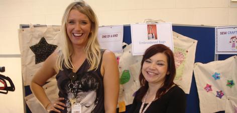 TWD Coordinator, Emily Manners and OT Natalie Boorman brought a touch of glamour to the Sew Crafty Group stall, which was selling superbly embroidered Tote bags at the Bracton Summer Fayre.