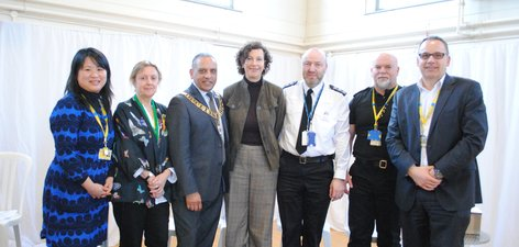 From left, Patsy Fung, Occupational Therapy Technical Instructor Louise Sheridan, Cllr Sandhu, Jackie Craissati, Chief Inspector Paul Anderson, Paul Squire, John Enser