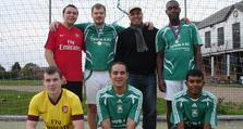 News: Greenwich FC - Pictured is Greenwich Community Psychiatric Nurse, Hamid Ghazzali, standing second from the right in back row, with some of the members of the Greenwich FC squad.