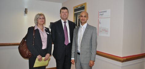 1. From left, Director Older People Mental Health, Estelle Frost, Minister of State for Care Services, Paul Burstow, Oatleigh Manager Rishi Jawaheer
