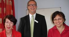From left to right: Oxleas Deputy Chief Executive, Helen Smith; MHLT Manager, Scott Hunt and Dr Angela Bhan, Managing Director of Bromley Clinical Commissioning Group.