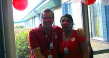Forensic psychiatric nurse, Gill Kilbane and staff nurse colleague Rich Earl helped collect the cash in a special Red Nose bucket