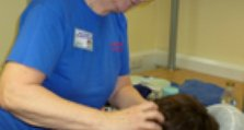 Clinical Psychologist, Dr Elsa Murphy, has a massage at the Memorial carers' event