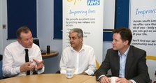 Deputy Prime Minister, Nick Clegg in discussion with Neil Springham, Head of Art Therapy (left) and Farhad Afghani (centre), a service user and member of ResearchNet