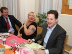 Service user Caroline Day shares a joke with Deputy Prime Minister, Nick Clegg (right) and Mental Health Campaigner, Alastair Campbell (left) on Betts Ward.